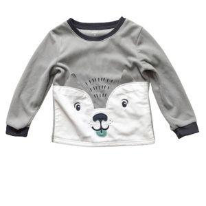 Carter's Gray Fleece Pajama Top Dog Face 5T